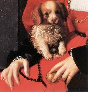 Portrait of a Lady with a Puppy (detail) fg BRONZINO, Agnolo