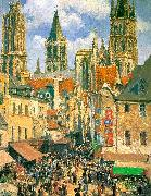 The Old Market Town at Rouen Camille Pissaro