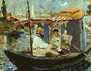 Claude Monet Working on his Boat in Argenteuil Edouard Manet