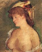 Blond Woman with Bare Breasts Edouard Manet