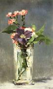 Carnations and Clematis in a Crystal Vase Edouard Manet