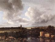 An Extensive Landscape with Ruined Castle and Village Church Jacob van Ruisdael