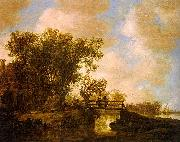 Two Men on a Footbridge Over a Stream Jan van  Goyen