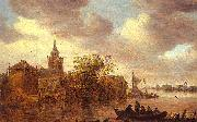 A Church and a Farm on the Bank of a River Jan van  Goyen