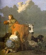 Woman Milking a Red Cow Karel Dujardin