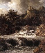 Waterfall with Castle Built on the Rock af RUISDAEL, Jacob Isaackszon van