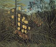 In a Tropical Forest.Struggle between Tiger and Bull Henri Rousseau