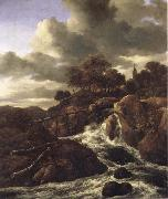 A Waterfall with Rocky Hilla and Trees Jacob van Ruisdael