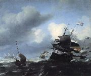 Seascape with Ships Ludolf Backhuysen