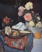 Fruit and Flowers on a Draped Table George Leslie Hunter