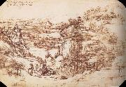 Landscape in the Arnotal LEONARDO da Vinci