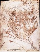 Grotesque profile of a man LEONARDO da Vinci