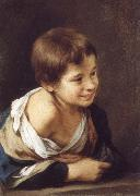 A Peasant Boy Leaning on a sill Bartolome Esteban Murillo