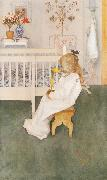 Lisbeth in her night Dress with a yellow tulip Carl Larsson