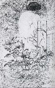 A Rose and a Back Etching Carl Larsson