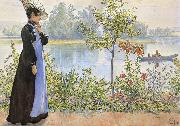 Late Summer Karin by the Shore Carl Larsson