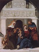 The Holy Family with Saints John the Baptist,Elizabeth and Francis Lodovico Mazzolino