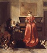 A Woman Playing a Virgind,AnotherSinging and a man Playing a Violin OCHTERVELT, Jacob