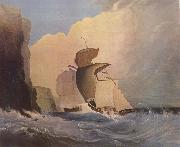 Sailing ships off a rocky coast William Buelow Gould