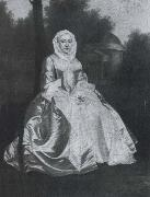 Probably Dorothy Savile,Countess of Burlington,seated in the Orange tree garden at Chiswick Arthur Devis