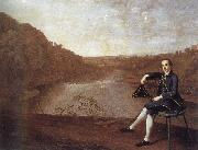 Philip Howard Seated before a panorama of the river Eden at Corby Castle Arthur Devis