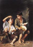 Grapes and melon eater Bartolome Esteban Murillo