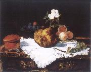 Brioche with flower and fruits Edouard Manet