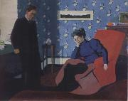 Interior with red armchair and figure Felix Vallotton