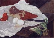 Still life with Meat and eggs Felix Vallotton