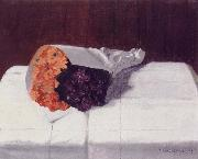 Still life with Bouquet of Marigolds and Violets Felix Vallotton