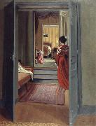 Interior with Woman in red Felix Vallotton