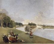 A View of the grounds of Hampton House with Mrs and Mrs Garrick taking tea Johann Zoffany