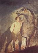 Tempera undated one Standing by a Horse Sir David Wilkie