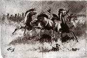 Untitled sketch of wild horses Cary, William