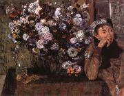 A Woman seated beside a vase of flowers Edgar Degas