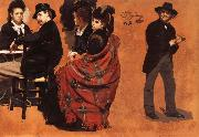Man and Woman at a Table,Two seated Women,Man Putting a Glove Ilya Repin
