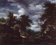 Hilly Wooded Landscape with Cattle Jacob van Ruisdael
