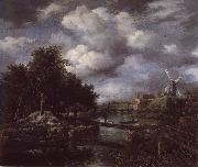 Landscape with a windmill  near town Moat Jacob van Ruisdael