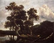 Grove of Large Oak trees at the Edge of a pond Jacob van Ruisdael