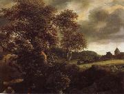 Hilly Landscape with a great oak and a Grainfield Jacob van Ruisdael