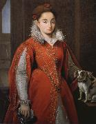 With the red dog lady Alessandro Allori