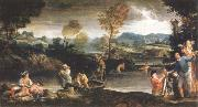 landscape with fishing scene Annibale Carracci