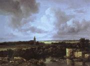 an extensive landscape with a ruined castle and a village church Jacob van Ruisdael