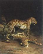 two leopards playing Jacques-Laurent Agasse