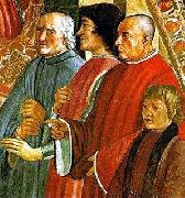 Lorenzo de Medici between Antonio Pucci and Francesco Sassetti, with Giulio de Medici, fresco by Ghirlandaio LEONARDO da Vinci