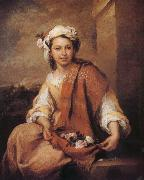A girl wearing a Rose Bartolome Esteban Murillo