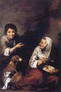 Boys laugh at woman Bartolome Esteban Murillo