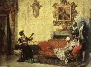 Women take part in the Spanish guitar her a small audience at home. Jacob Maentel