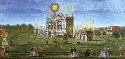 a contemporary artist s view of the structure erected in  green park for the 1749 firework display celebrating the peace of aix la chapelle. wolfgang amadeus mozart