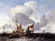 Ships on the Zuiderzee before the Fort of Naarden Ludolf Backhuysen